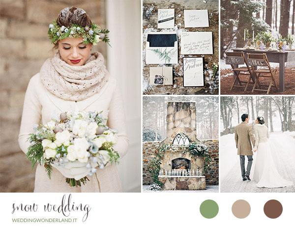 Matrimonio Tema Neve : Matrimonio nella neve con colori neutri