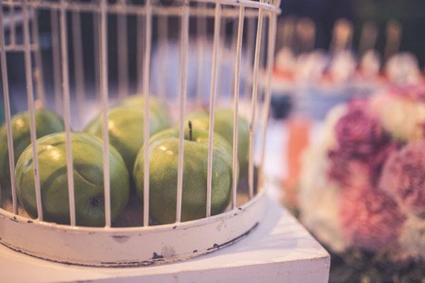 centrotavola con mele verdi