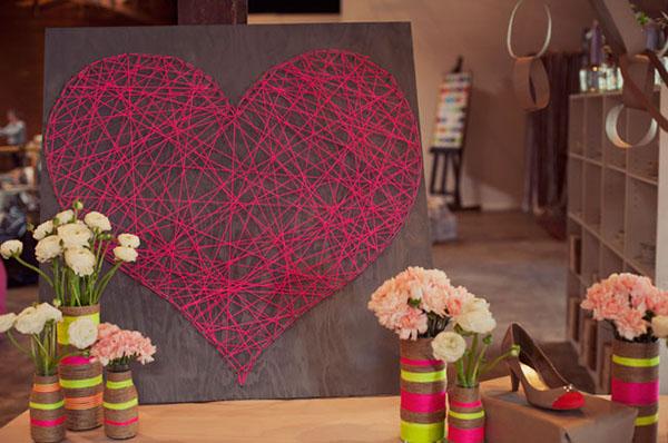 cuore string art fai da te