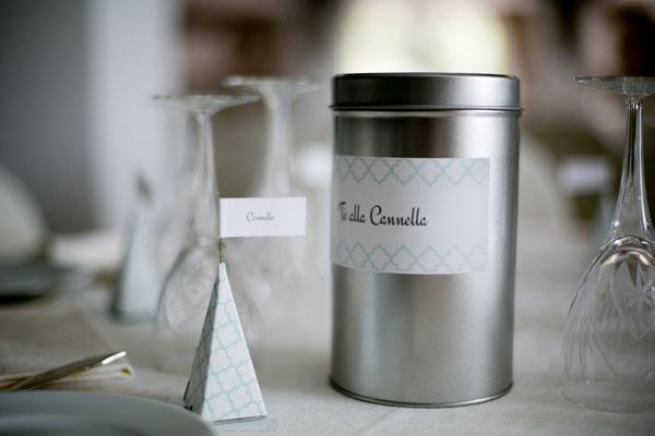 tè come segnatavelo e segnaposto