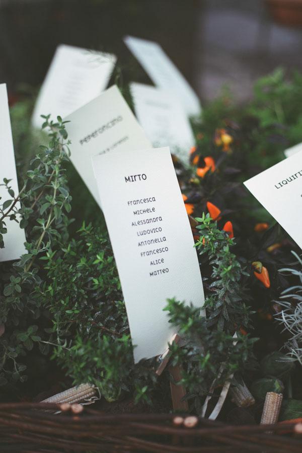 tableau de mariage con piante aromatiche