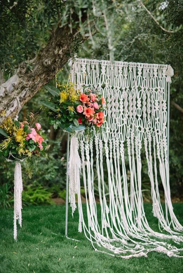 backdrop in macrame per matrimonio bohemien