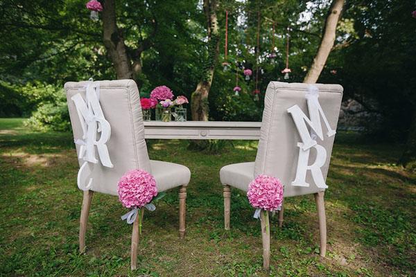 decorazioni mr e mrs per sedie