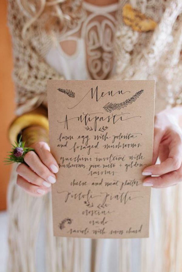 menu per matrimonio bohemien