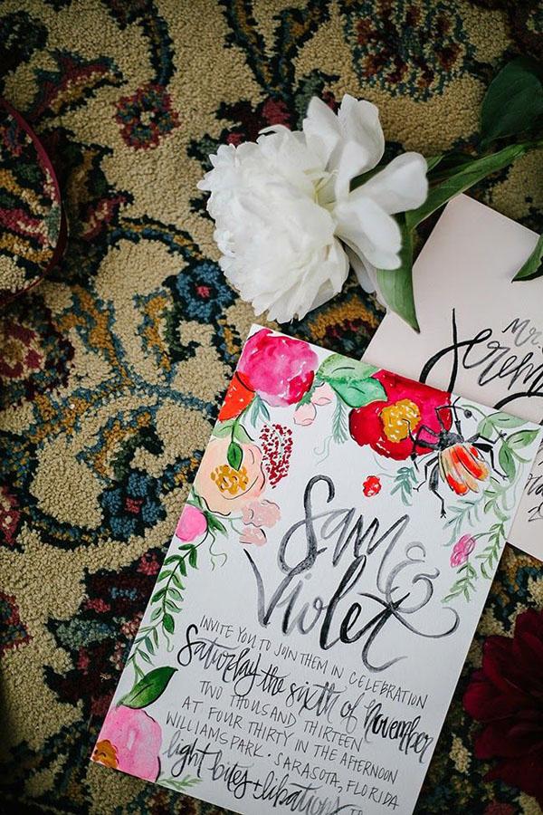 partecipazioni per matrimonio bohemien