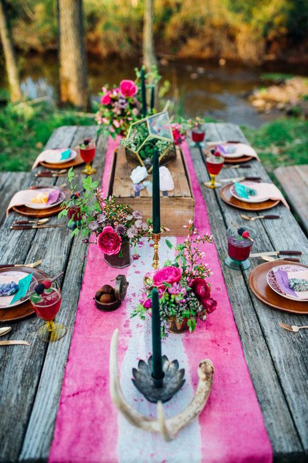 tavola per matrimonio bohemien