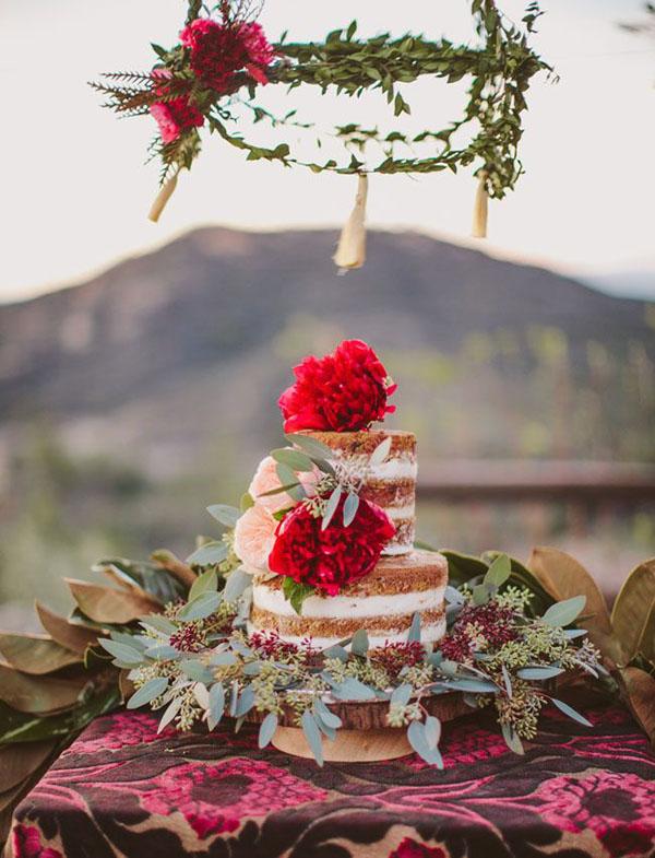 torta nuda per matrimonio bohemien