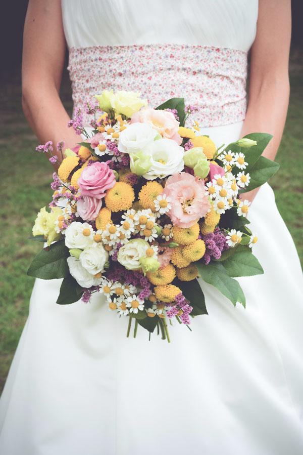 bouquet primaverile rosa e giallo