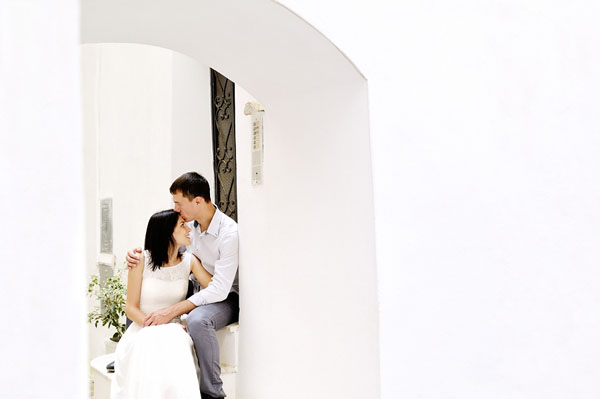 romantic couple tenderly together after their wedding in Sperlon