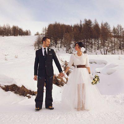 Una bridal session sulla neve