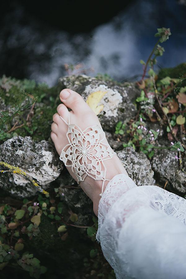 cavigliera all'uncinetto per la sposa