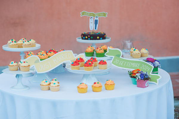 sweet table con cupcakes colorati