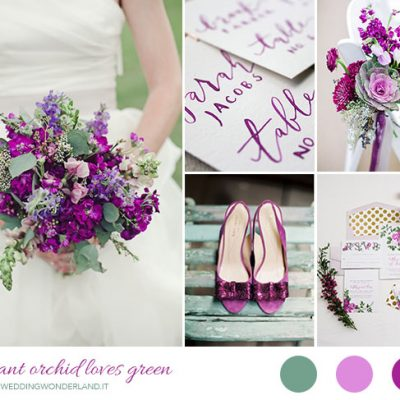 Inspiration board: Radiant Orchid e verde
