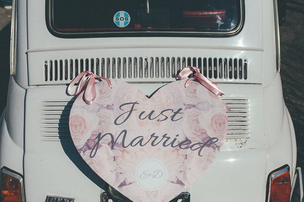 decorazione auto sposi
