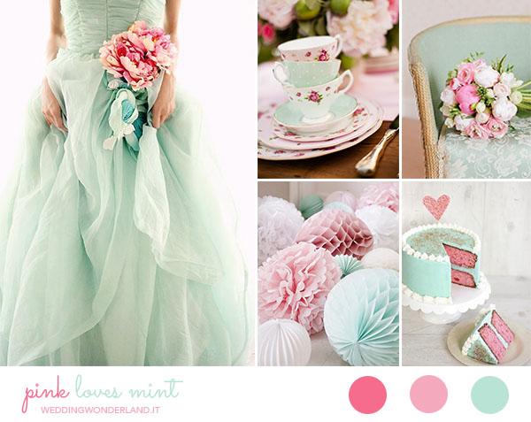 Matrimonio Azzurro E Rosa : Inspiration board matrimonio vintage in rosa e menta