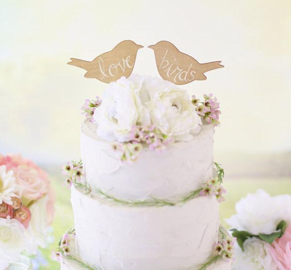 cake topper rustico con uccellini