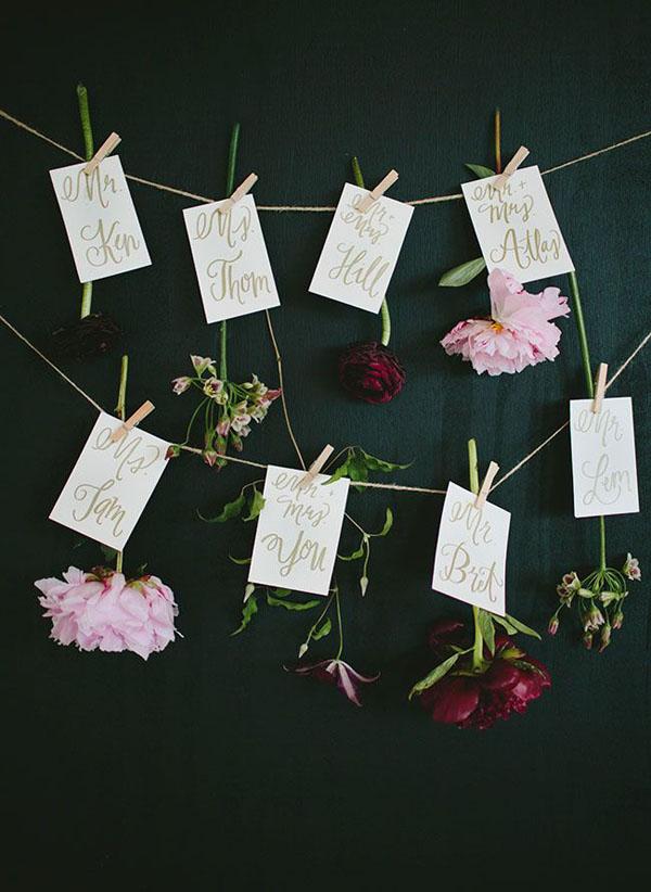 escort card matrimonio botanico