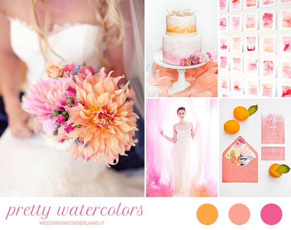 matrimonio acquerello fucsia corallo arancione