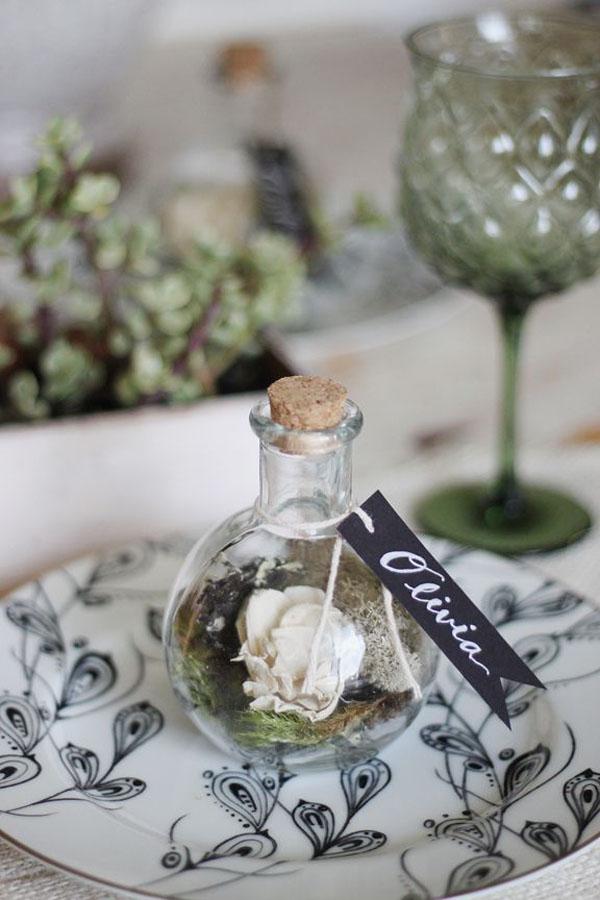 mini terrario segnaposto matrimonio botanico