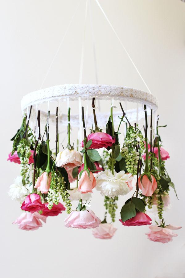 chandelier floreale fai da te