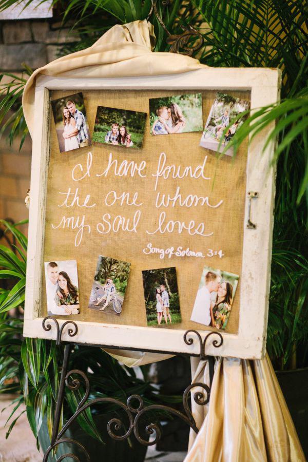 cartello con citazioni e foto matrimonio