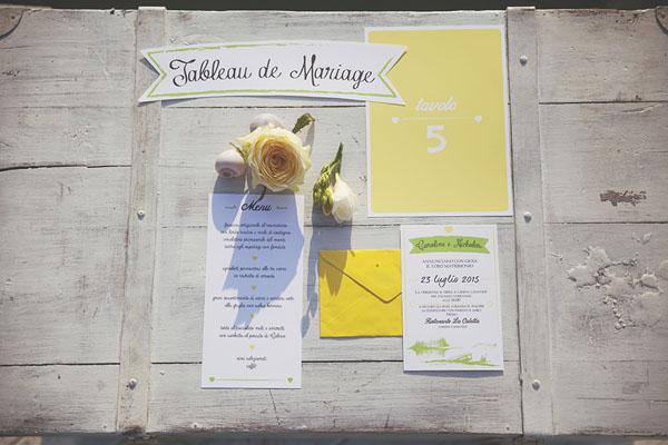 coordinato grafico matrimonio giallo e verde