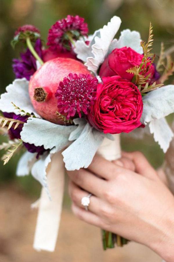 bouquet con melograno autunnale