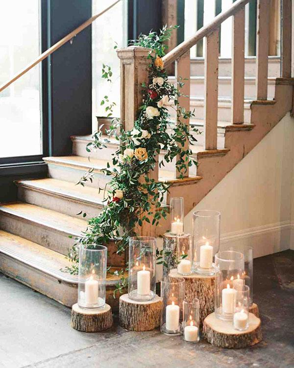 candele matrimonio rustico