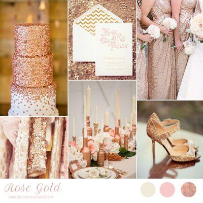 Oro rosa per un matrimonio invernale