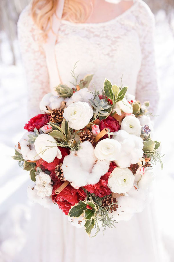 bouquet invernale con cotone