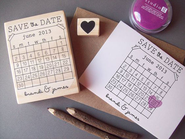 timbro save the date a forma di cuore