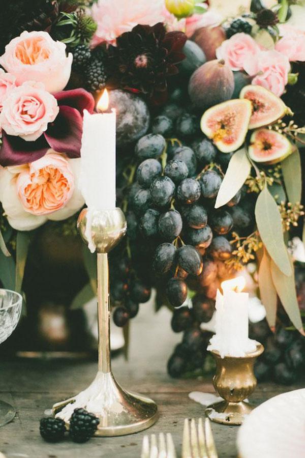 centrotavola con uva