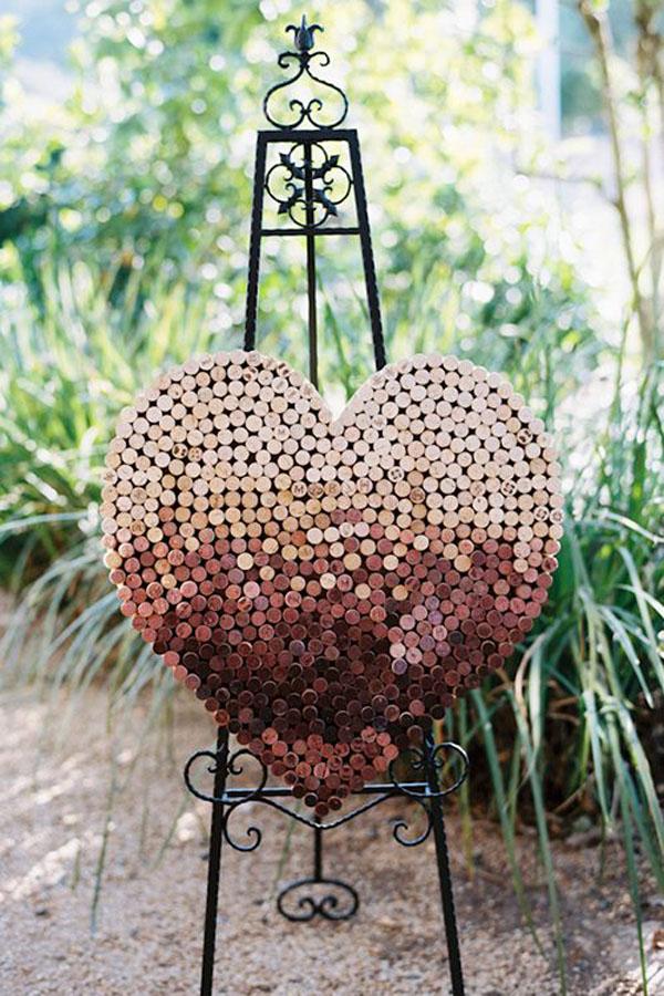 decorazione matrimonio con tappi di sughero