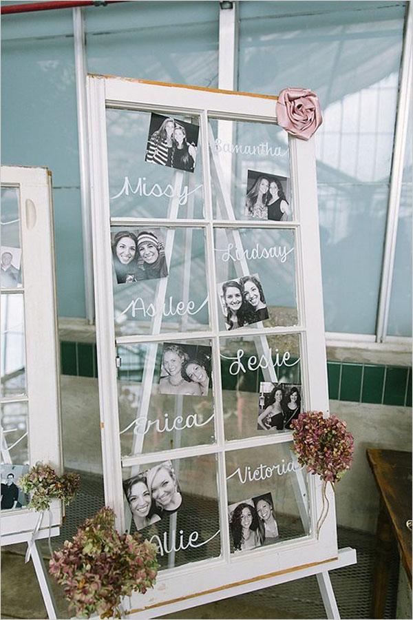 allestimento matrimonio con foto su finestra vintage