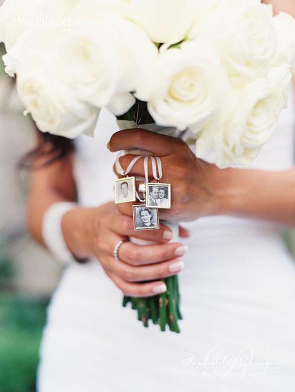 charm con fotografie sul bouquet