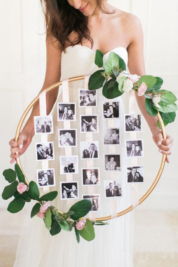 decorazione matrimonio con nastri e foto degli sposi