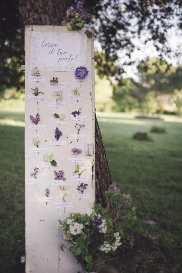 tableau de mariage con fiori viola