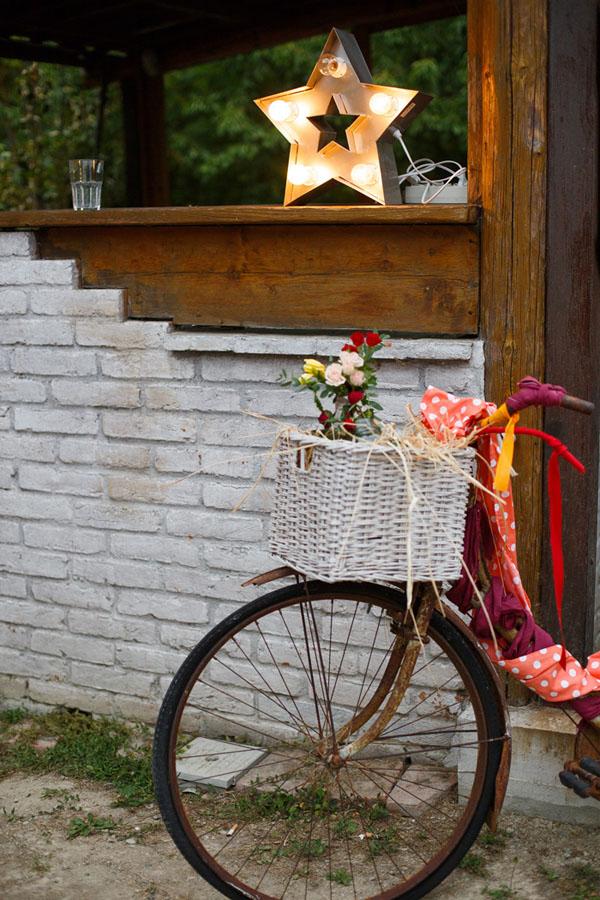 allestimento matrimonio con bicicletta