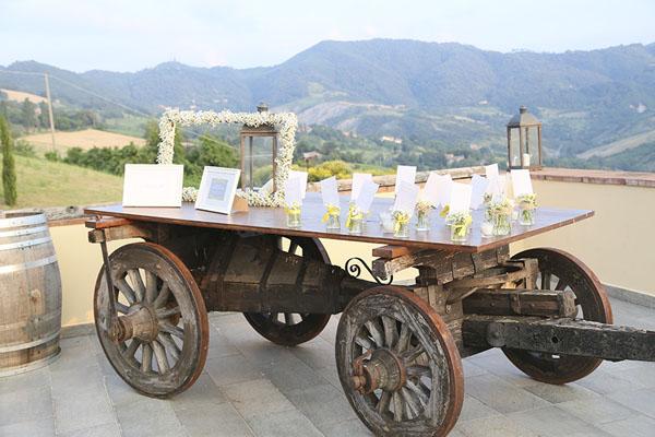 allestimento matrimonio rustico in giallo e grigio