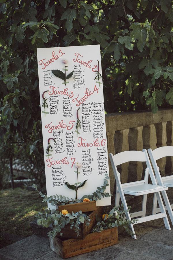 tableau de mariage botanico scritto a mano