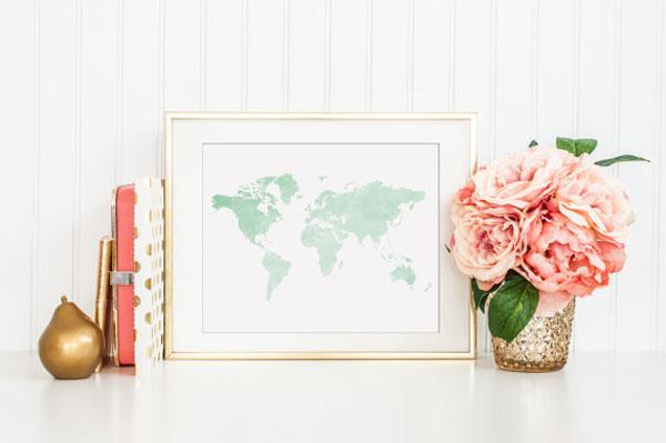 mappa acquerello matrimonio a tema viaggi