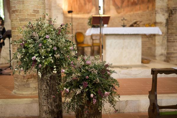 allestimento chiesa rustico e autunnale