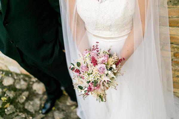 bouquet autunnale rosa, verde e magenta
