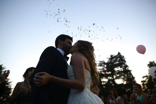 lancio palloncini matrimonio