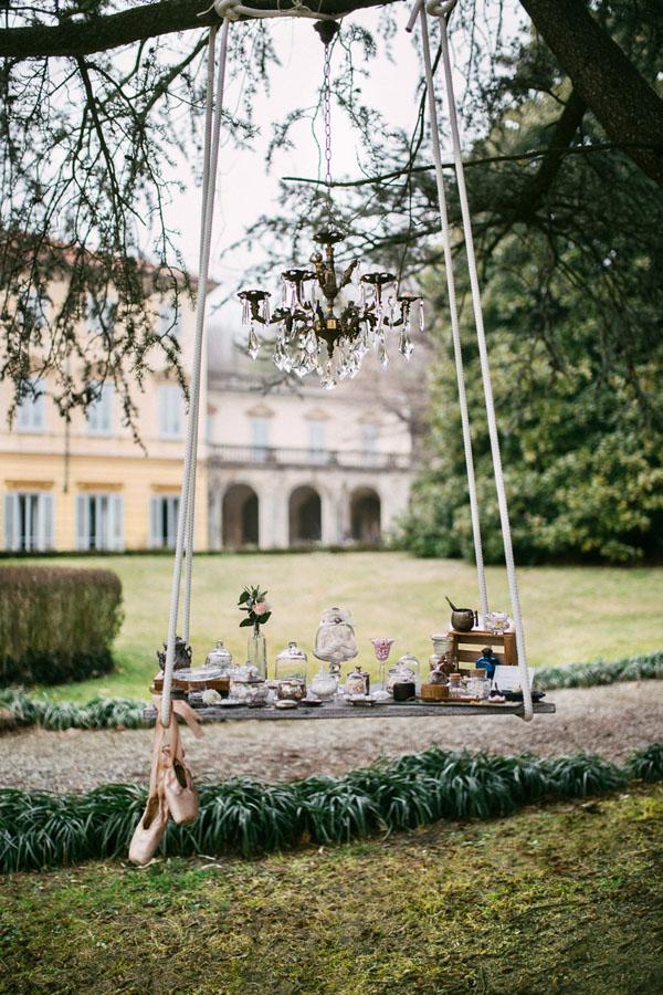 altalena come sweet table bohemien