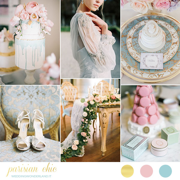 matrimonio parigino in rosa, azzurro e oro | wedding wonderland