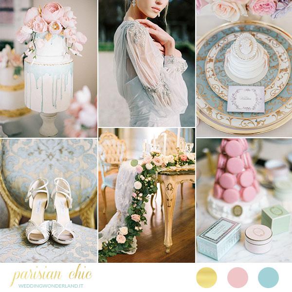 matrimonio parigino in rosa, azzurro e oro | wedding wonderland