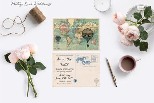 save the date matrimonio a tema viaggi