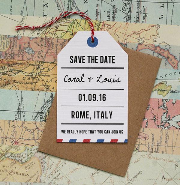 save the date posta aerea matrimonio a tema viaggi