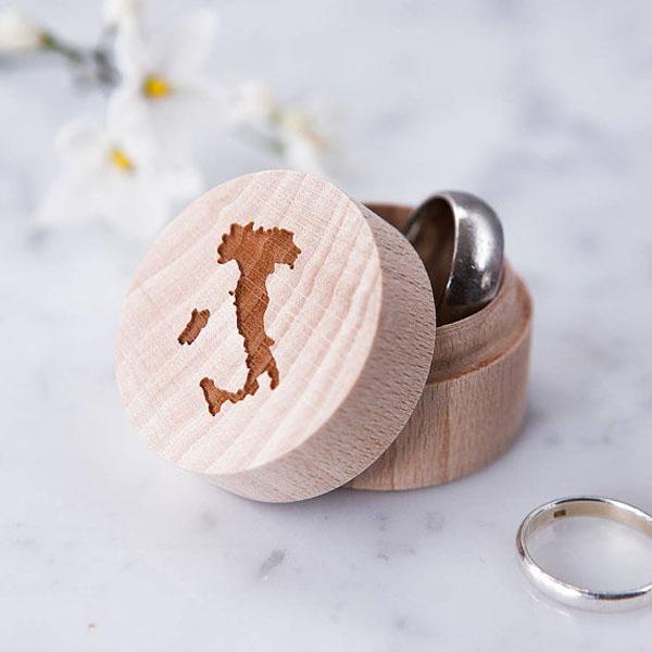scatola porta fedi matrimonio a tema viaggi